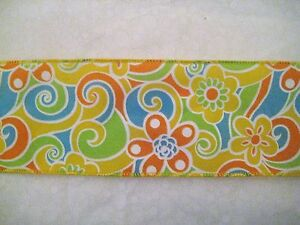 """10 Yards Colorful Paisley Pink Green Blue Orange Yellow Wired Ribbon 2 1//2/""""W"""