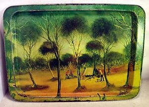Vintage-Australian-Tin-Serving-Tray-034-Trappers-Camp-034-by-Pro-Hart-1975-4376