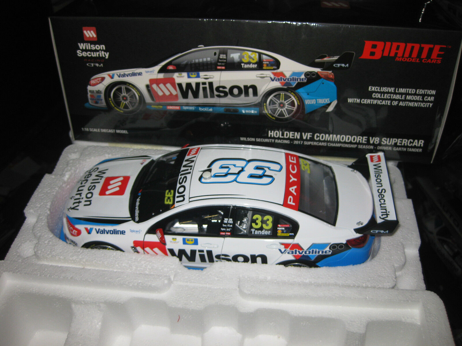 BIANTE 1 18 G TANDER HOLDEN COMMODORE 2017 V8 SUPERCAR GRM  33 WILSON SECURITY