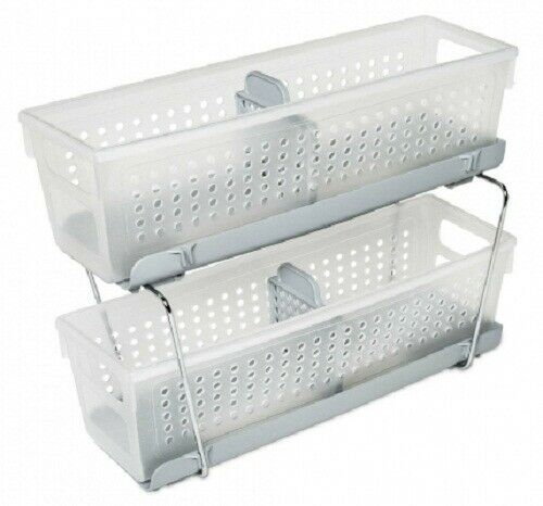 Madesmart TWO-TIER MINI STORAGE BASKET ORGANISER 12x37x15cm With Dividers