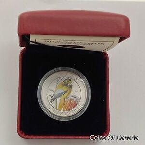 2012-Canada-25-Cent-Coloured-Coin-Evening-Grosbeak-w-Box-COA-coinsofcanada