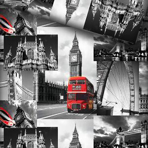 baumwollstoff 100 meterware 0 5lfm dekostoff london city roter bus big ben foto ebay. Black Bedroom Furniture Sets. Home Design Ideas