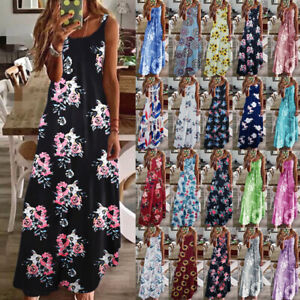 Womens-Loose-Strappy-Sundress-CAMI-Casual-Maxi-Floral-Ladies-Long-Slip-Dress