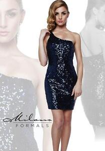 Milano Formals E1606 Sequin Navy Mini One Shoulder Fitted Party Dress 14