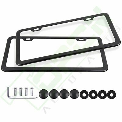 4 Holes Auto Car License Plate Frame Tag Holder with Screws Caps Slim Stainless Steel for US Vehicles AllCustom4U License Plate Frame