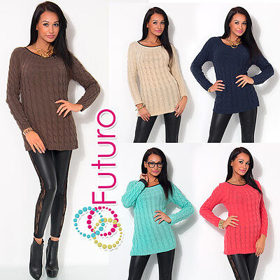 Ladies Cable Knit Jumper Crew Neck Long Sleeve Top Sweat Tunic Size 8-12 W9