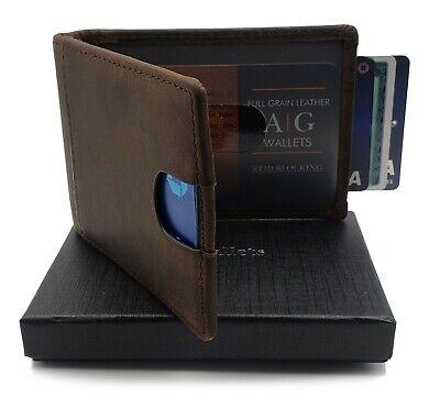 8329f2b9f947 AG Wallets Mens Leather Bifold Wallet, RFID, Slim Design, Minimalist Money  Clip | eBay