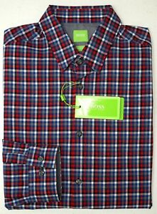 NWT-145-Hugo-Boss-Modern-Fit-Red-Blue-Shirt-Mens-M-L-XL-C-Bustai-Long-Sleeve