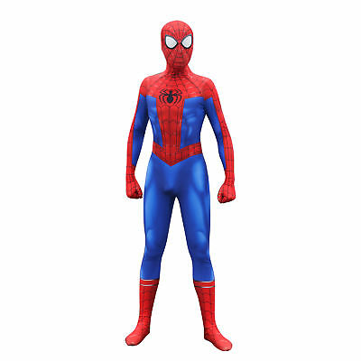 US! Spider-Man Into the Spider-Verse Peter Parker Zentai Cosplay Costume Lycra