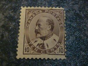 CANADA POSTAGE STAMP SG182 TEN CENTS BROWN/LILAC MOUNTED-MINT