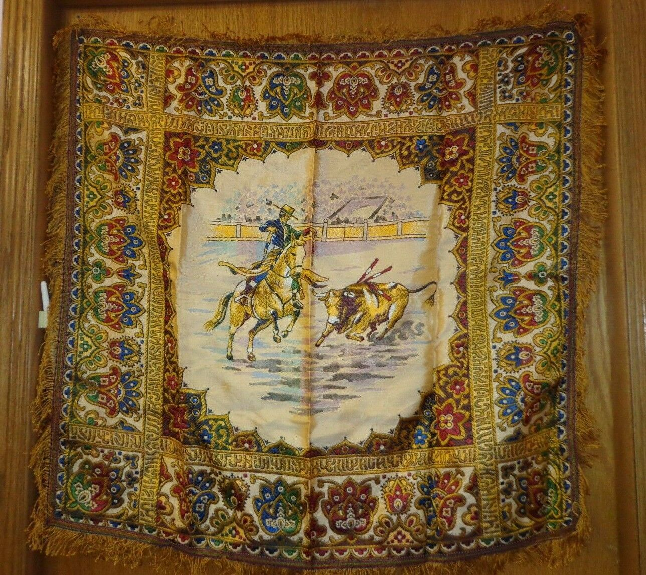 Vintage Tapisserie, table cloth-BULL FIGHTING thème-Brillant & Brillant-excelnt