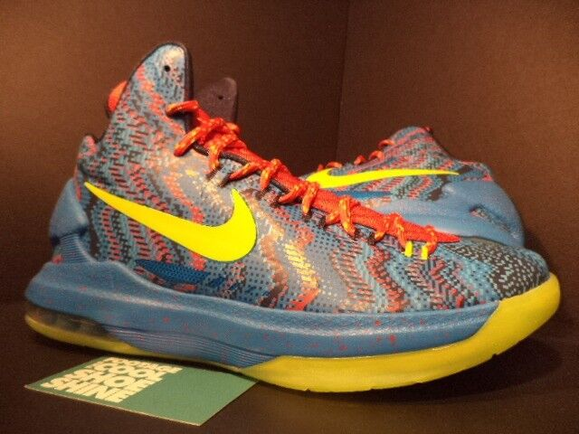 0580e59533da Nike KD V 5 Size 10 Christmas HYPER Blue Atomic Green Basketball Shoe  554988-401