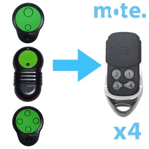 4 x Merlin M832//M844//M842 Compatible Garage//Gate Door Remote Prolift 230T//430R