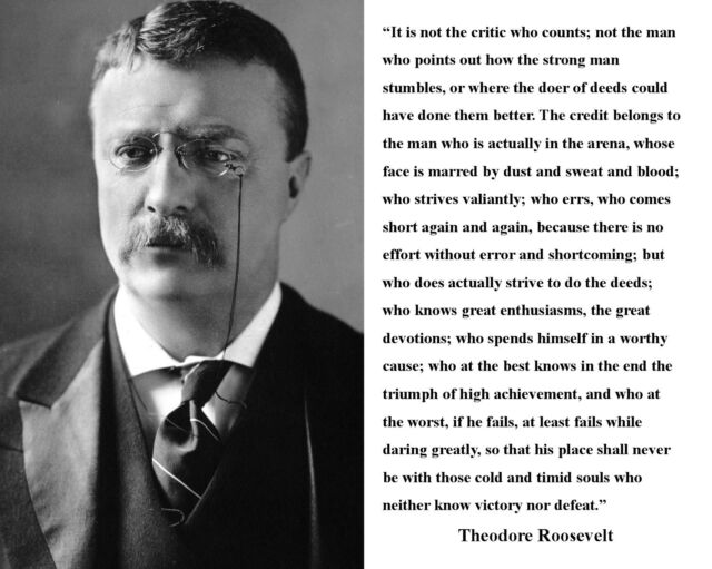 """Theodore Teddy Roosevelt """"It is not the critic"""" Quote 8 x 10 Photo Picture # hv1"""