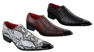 prix compétitif 82a35 09a89 Détails sur Mens Western point Metal Toe Cowboy Chaussures Crocodile  Texture Cuir Noir Marron- afficher le titre d'origine