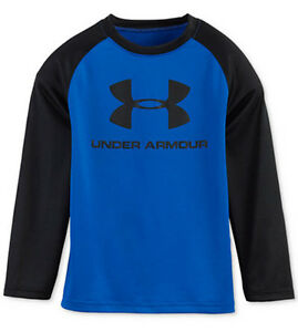 Under Armour Boys Dynamo Blue LS Branded Basketball T-Shirt See Sizes NWT