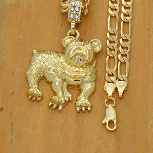 "Men/'s 14k Gold Plated High Fashion Bull Dog Pendant 5mm 24/"" Inch Figaro chain"