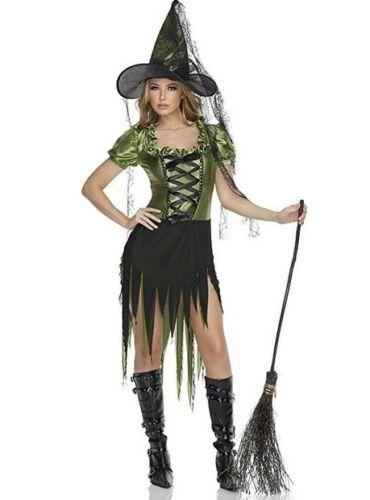 Women/'s Emerald Witch Costume S//M//L