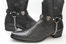 Men Pray Metal Silver Chains Fashion Western Shoe Boots Black Strap Motorcycle