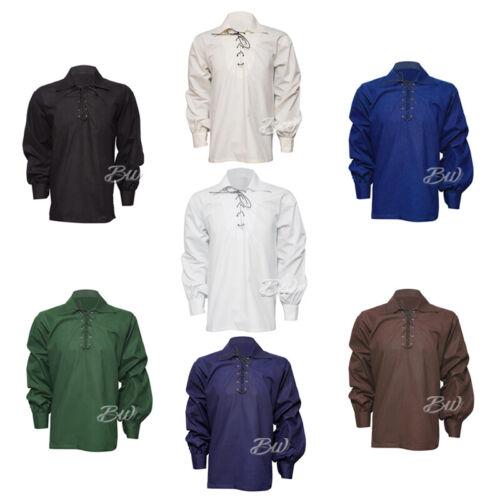 New Mens Scottish Jacobite Ghillie Kilt Shirt 100/% Cotton Small To 5XL