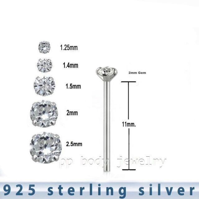 2pc 925 Sterling Silver Prong Set CZ L-Shape Nose Stud 22g 1.25mm to 2.5mm C.Z.