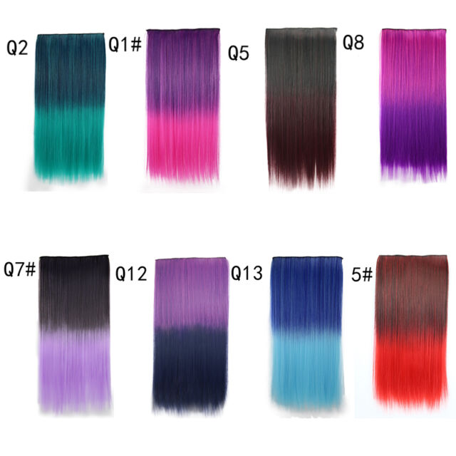 Clip In On Colorful Hair piece Synthetic Straight Hair Extensions Highlig Gift