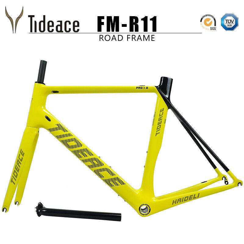 Road Racing Aero Carbon Fiber Bicycle Frames BSA Tideace Yellow Glossy Logo OEM