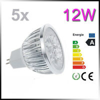 5PCS 12W MR16 led light bulb 4*3W Spotlight lamp downlight GU5.3 Warm cool white