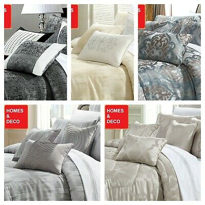 Luxury 3 Pcs Quilted Bedspread Double King Size Jacquard Bedding Set With Pillow