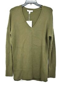 Chelsea-Womens-V-Neck-Wool-Blend-Long-Sleeves-Side-Slit-Pullover-Sweater-28-XS