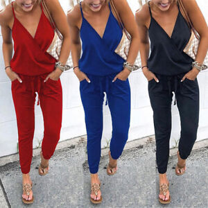 4989b8bb680c Image is loading Lady-Jumpsuit-Trousers-Women-Sleeveless-V-Neck-Casual-