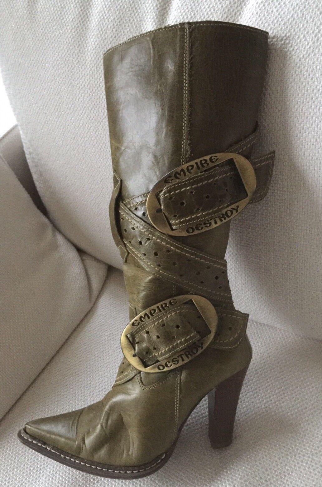 DESTROY Stiefel Leder tannengrün Echtleder 36 Langstiefel grün tannengrün Leder khaki Stiefel a89ceb