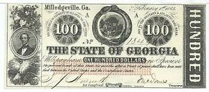 100-1863-Georgia-Milledgeville-signed-Bank-Note-red-overprint-13446