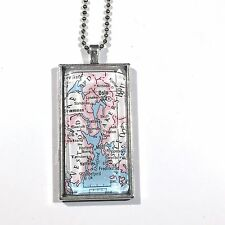 OSLO NORWAY SCANDINAVIA EUROPE ROAD Map Pendant Silver necklace vntg ATLAS F04