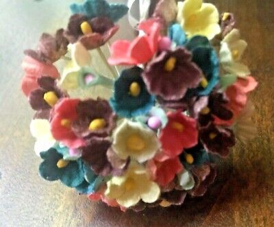 Hair YV1 Vintage Millinery Flowers Forget Me Not Yellow Velvet for Hat Doll