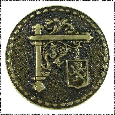 Small Antique French Tight Metal Button Aurora Borealis Design
