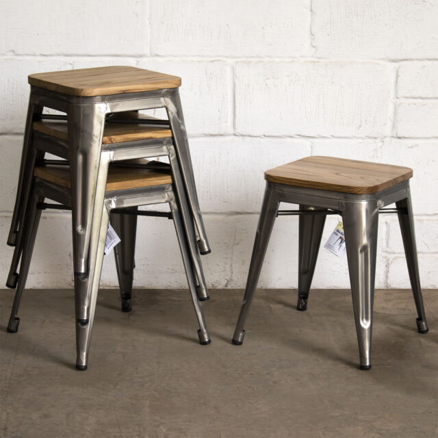 Metal Industrial Stools Seat Chair Kitchen Diner Cafe Restaurant Bar Tolix Style For Sale