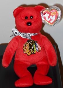 Ty STANLEY the (Red) CHICAGO BLACKHAWKS Bear Beanie Baby - LIMITED EDITION ~MWMT