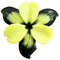 Natural Stone Flower Hand Carved Bi-color Yellow&black Serpentine Jewelry Making