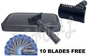 Safety-Razor-Double-Edge-Black-Razors-10-Free-Blades-Pouch-travel-kit-set