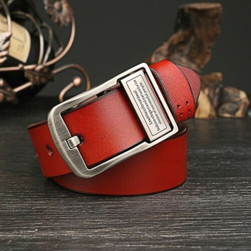 Mens Genuine Real Leather Smooth Girdle Buckle Waistband Waist Band Belt XJ