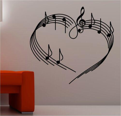 MUSIC NOTES AS A HEART wall art sticker vinyl music musical love