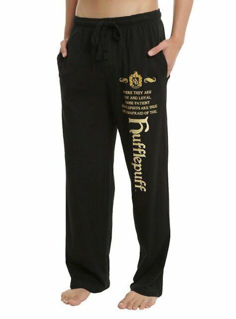 Mens Womens NEW Harry Potter Slytherin Crest Black Pajama Lounge Pants S-2XL