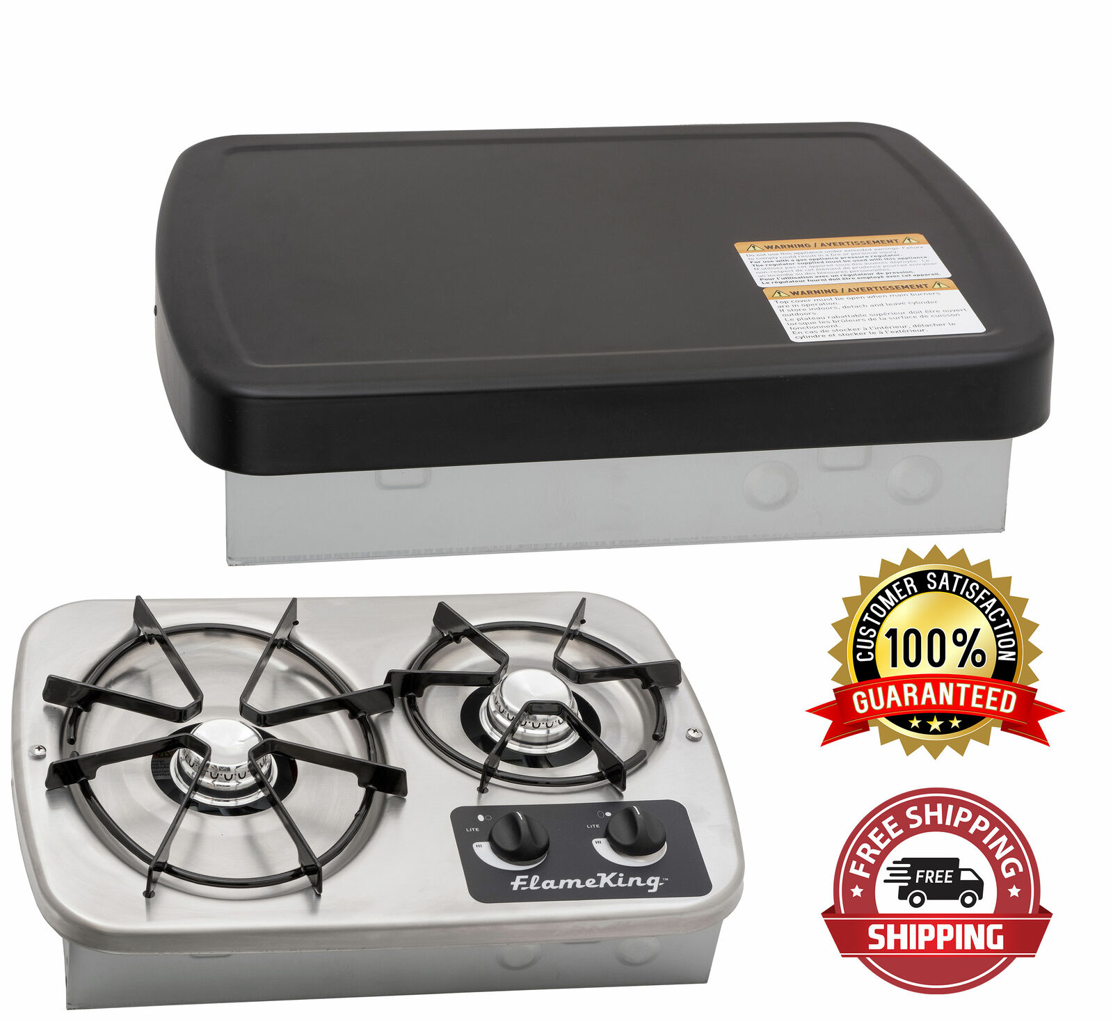 Built In Propane Rv Cook Top Stove Oven 2 Burner 7200 5200 Btu Burner With Cover For Sale Online
