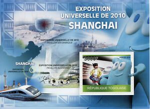 Togo-Architecture-Stamps-2010-MNH-Shanghai-Expo-Buildings-Trains-1v-S-S