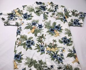 Cherokee-Waikiki-Wear-Men-039-s-Hawaiian-Polo-Shirt-Size-L-Palm-Trees-Wooden-Buttons