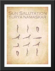 sun salutation chart 22x28 large black wood framed art