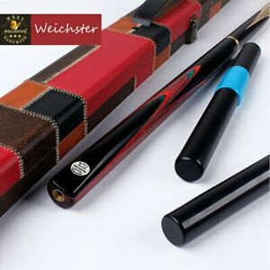 Weichster-3-4-Jointed-Handmade-Snooker-Pool-Cue-Purple-Heart-Wood-Case-Extension