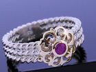 R242- Genuine 9ct Solid Gold & 925 Sterling Silver Natural Ruby Rope Ring size N