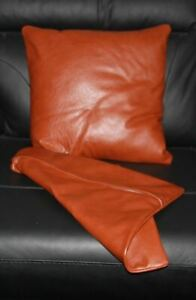 Pillow Leather Cover Cushion Cowhide Patchwork U Decor Accent Hair Couch Grain11